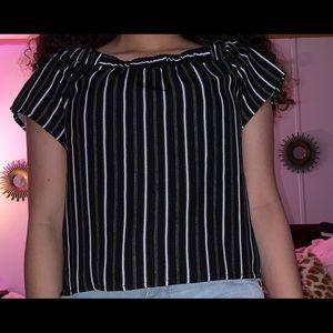 Doe & Rae Tops - Black and white stripe shirt